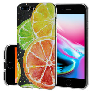 Ultra Thin Protective Cover Soft Gel Shockproof TPU Skin Case Citrus Print for iPhone 8 Plus - Clear
