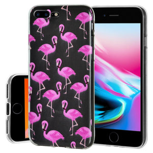 Ultra Thin Protective Cover Soft Shockproof TPU Skin Case Flamingo Print for iPhone 8 Plus - Clear
