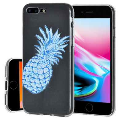 Ultra Thin Protective Cover Soft Shockproof TPU Skin Case Blue Pineapple for iPhone 8 Plus - Clear