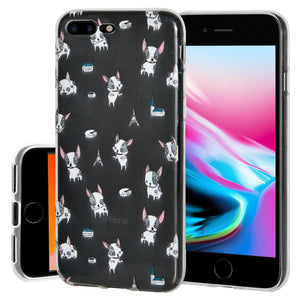 Ultra Thin Protective Cover Soft Gel Shockproof TPU Skin Case Puppy Print for iPhone 8 Plus - Clear