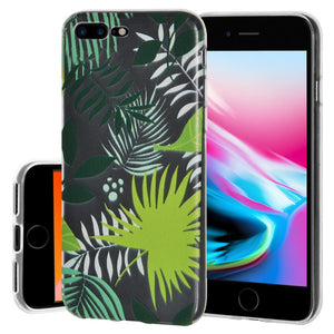 Ultra Thin Protective Cover Soft Gel Shockproof TPU Skin Case Botanical for iPhone 8 Plus - Clear