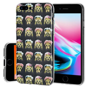 Protective Cover Soft Shockproof TPU Case See Speak Hear No Evil Monkeys for iPhone 8 Plus - Clear