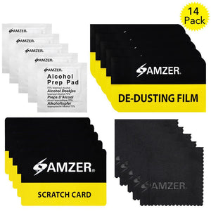 AMZER® Screen Care Kit with Cleaning Cloth, Alcohol Prep Pad, Scratch Card & De-Dusting Film Pack Of 14 for Smartphone & Tablet Screens