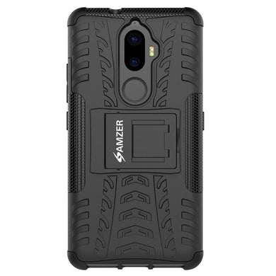 AMZER Shockproof Warrior Hybrid Case for Lenovo K8 Plus - Black/Black