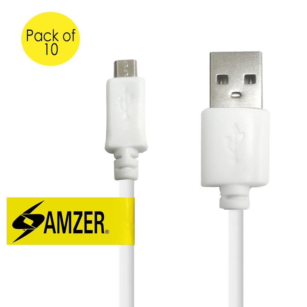Amzer Universal Micro USB to USB 2.0 Data Sync and Charge Cable 1ft. Pack of 10 - White