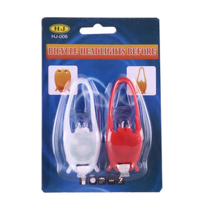 2 PCS Red & White Frog Style 2-LEDs 3 Modes Waterproof Bicycle Rear Light Headlight Warning Light