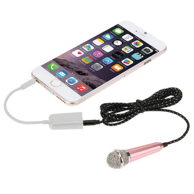 Stylish Mini Mobile Microphone with 3.5mm Audio Interface & 1.6m 3.5 mm Male to 2 Female Plug Adapter Cable