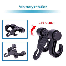 Load image into Gallery viewer, 2 PCS Car Vehicle Multi-functional Seat Headrest Bag Hanger Hook Holder Double Hooks - Black