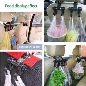 2 PCS Car Vehicle Multi-functional Seat Headrest Bag Hanger Hook Holder Double Hooks - Black