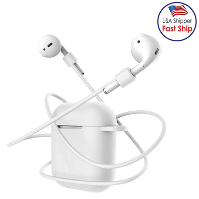 Wireless Bluetooth Earphone Anti-lost Storage Bag for Apple AirPods With Cable - White
