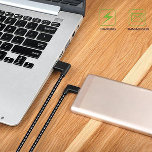 AMZER 20cm 2A USB to USB-C / Type-C Nylon Weave Style Double Elbow Data Sync Charging Cable - Black