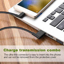 Load image into Gallery viewer, AMZER 20cm 2A USB to USB-C / Type-C Nylon Weave Style Double Elbow Data Sync Charging Cable - Black