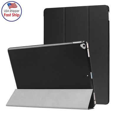 AMZER Texture Horizontal Flip Smart Leather Case with 3-folding Holder for iPad Pro 12.9 inch with Sleep / Wake-up Function - Black for Apple iPad Pro 12.9 Inch