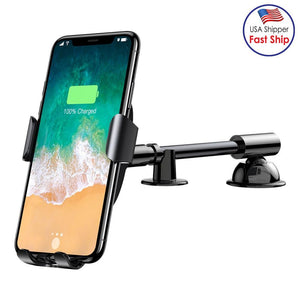 QI Wireless Gravity Car Phone Holder Charger - Black