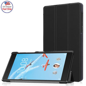 AMZER Tri-Fold Horizontal Flip PU Leather Protective Case with Holder - Black for Lenovo Tab 7 (TB-