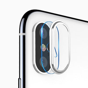 High Permeability Tempered Glass Camera Lens Protective Film Set - Silver for iPhone X
