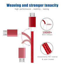 Load image into Gallery viewer, AMZER 5 Feet Micro USB Data Sync Charge Braid Cable - Red