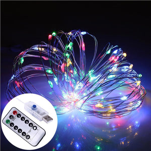 AMZER Decorative Multi-Color Light USB Silver Wire String Light 100 LEDs 8 Modes Fairy Lamp Light W