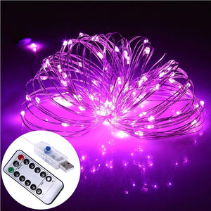 AMZER Decorative Pink Light USB Silver Wire String Light 100 LEDs 8 Modes Fairy Lamp Light With 13-