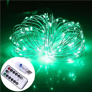 AMZER Decorative Green Light USB Silver Wire String Light 100 LEDs 8 Modes Fairy Lamp Light With 13