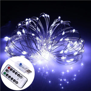 AMZER Decorative White Light USB Silver Wire String Light 100 LEDs 8 Modes Fairy Lamp Light With 13