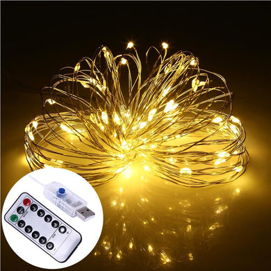AMZER Decorative Yellow Light USB Silver Wire String Light 100 LEDs 8 Modes Fairy Lamp Light With 1