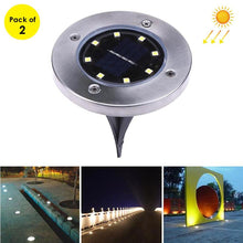 Load image into Gallery viewer, 2 PCS 8 LEDs IP44 Waterproof Solar Powered Buried White Light Under Ground Lamp Outdoor Path Way Garden Decking LED Light
