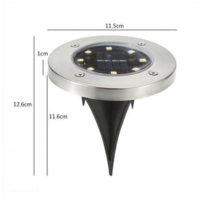 2 PCS 8 LEDs IP44 Waterproof Solar Powered Buried White Light Under Ground Lamp Outdoor Path Way Garden Decking LED Light