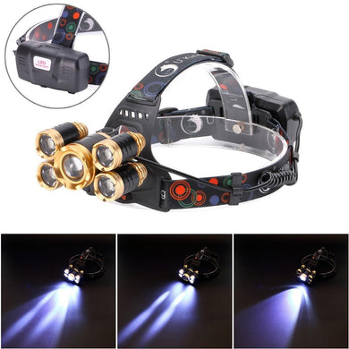 PX4 Waterproof Zooming LED Headlight 5 LEDs 4000 LM 4-Modes - Gold
