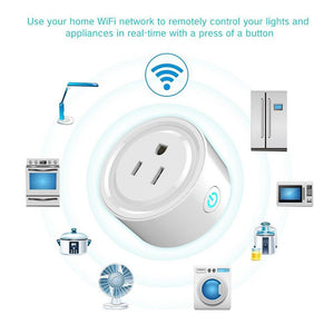 10A Round Shape WiFi Mini Plug APP Remote Control Timing Smart Socket Works with Alexa & Google Home