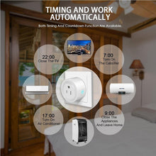 Load image into Gallery viewer, 10A Round Shape WiFi Mini Plug APP Remote Control Timing Smart Socket Works with Alexa & Google Home