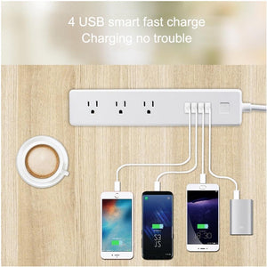 4 x USB Ports + 3 x US Plug Jack WiFi Remote Control Smart Power Socket Works with Alexa & Google Ho