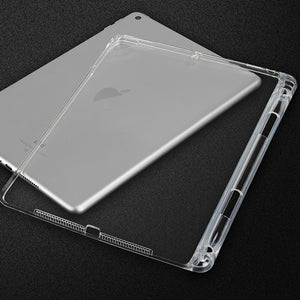 AMZER Shockproof TPU Chipped Edge Soft Protective Back Case With Pen Slots - Transparent for Apple iPad 9.7