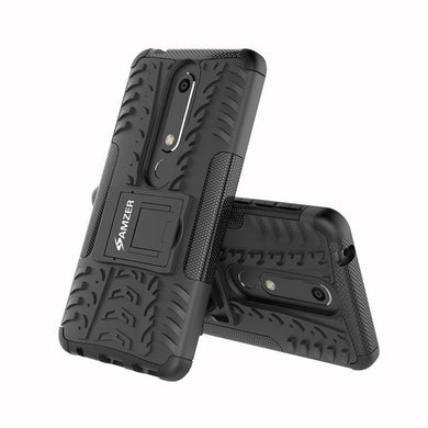 AMZER® Hybrid Warrior Case - Black/ Black for Nokia 6.1