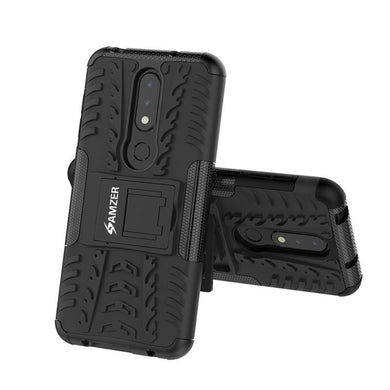 AMZER® Hybrid Warrior Case - Black/ Black for Nokia 6.1 Plus