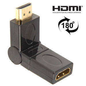 AMZER Gold Plated HDMI 19 Pin Male to HDMI 19 Pin Female Swivel (180 Degree) Adapter - Black