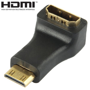 AMZER Gold Plated Mini HDMI Male to HDMI 19 Pin Female Adaptor With 90 Degree Angle - Black