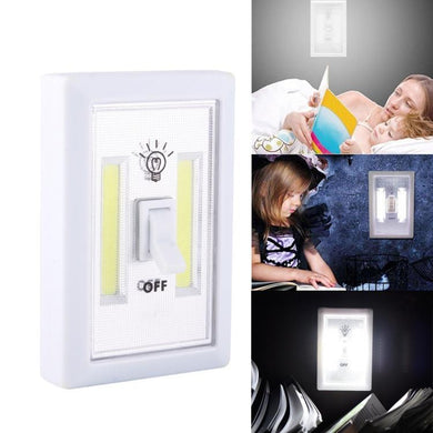 AMZER Mini White Light COB LED Wall Switch Night Light Lamp - White