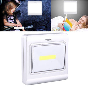 AMZER Mini White Light COB LED Light Night Switch Wall Light Lamp - Silver