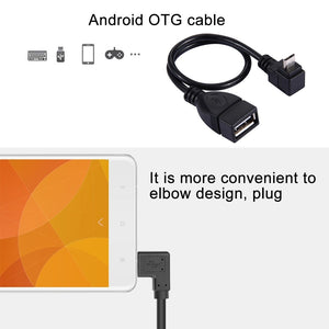 AMZER 90 Degree Elbow Micro USB Male to USB 2.0 Female OTG Converter Adapter Cable - Black