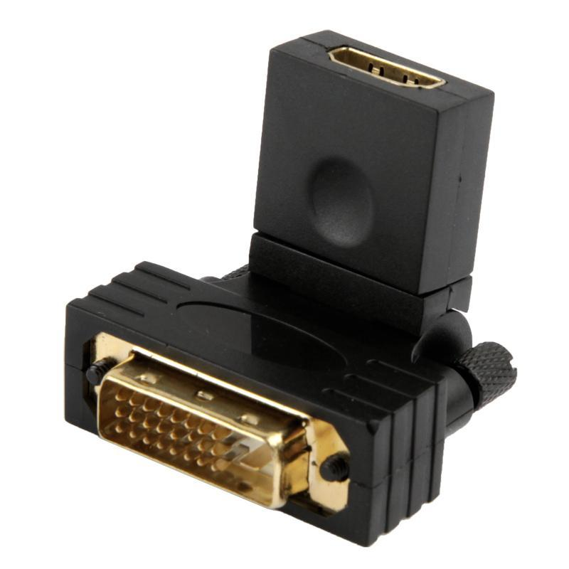 AMZER 360 Degree Rotation Gold Plated DVI 24+1 Pin Male to 19 Pin HDMI Female Adapter - Black
