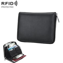 Load image into Gallery viewer, AMZER Anti-Magnetic RFID Multi-functional Genuine Leather Card Package - Black