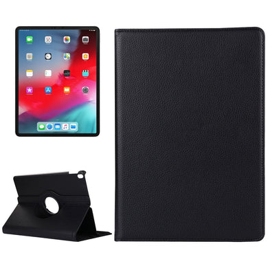 AMZER Textured Horizontal Flip 360 Degrees Rotation Leather Case With Holder for Apple iPad Pro 11 Inch 2018- Black