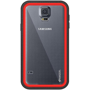 AMZER CRUSTA Rugged Case Black on Red Shell Tempered Glass with Holster for Samsung Galaxy S5 Neo SM-G903F