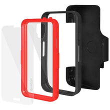 Load image into Gallery viewer, AMZER CRUSTA Rugged Case Black on Red Shell Tempered Glass with Holster for Samsung Galaxy S5 Neo SM-G903F