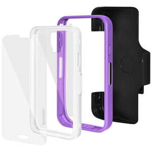 AMZER CRUSTA Rugged Case Purple on White Shell Tempered Glass with Holster for Samsung Galaxy S5 Neo SM-G903F