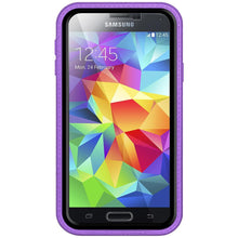 Load image into Gallery viewer, AMZER CRUSTA Rugged Case Purple on Black Shell Tempered Glass with Holster for Samsung Galaxy S5 Neo SM-G903F