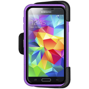 AMZER CRUSTA Rugged Case Purple on Black Shell Tempered Glass with Holster for Samsung Galaxy S5 Neo SM-G903F