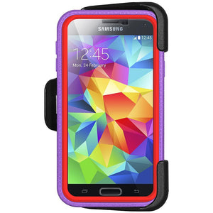 AMZER CRUSTA Rugged Case Purple on Red Shell Tempered Glass with Holster for Samsung Galaxy S5 Neo SM-G903F