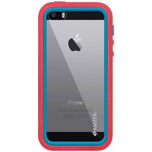 AMZER CRUSTA Rugged Case Pale Red on Blue Shell Tempered Glass with Holster for iPhone 5